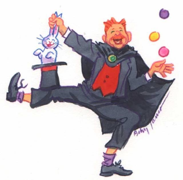Magician. Media: watercolor, colored pencil, pastel